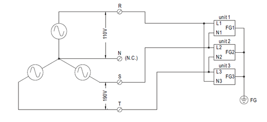 Three-phase four-wire of star connection @110/190VAC