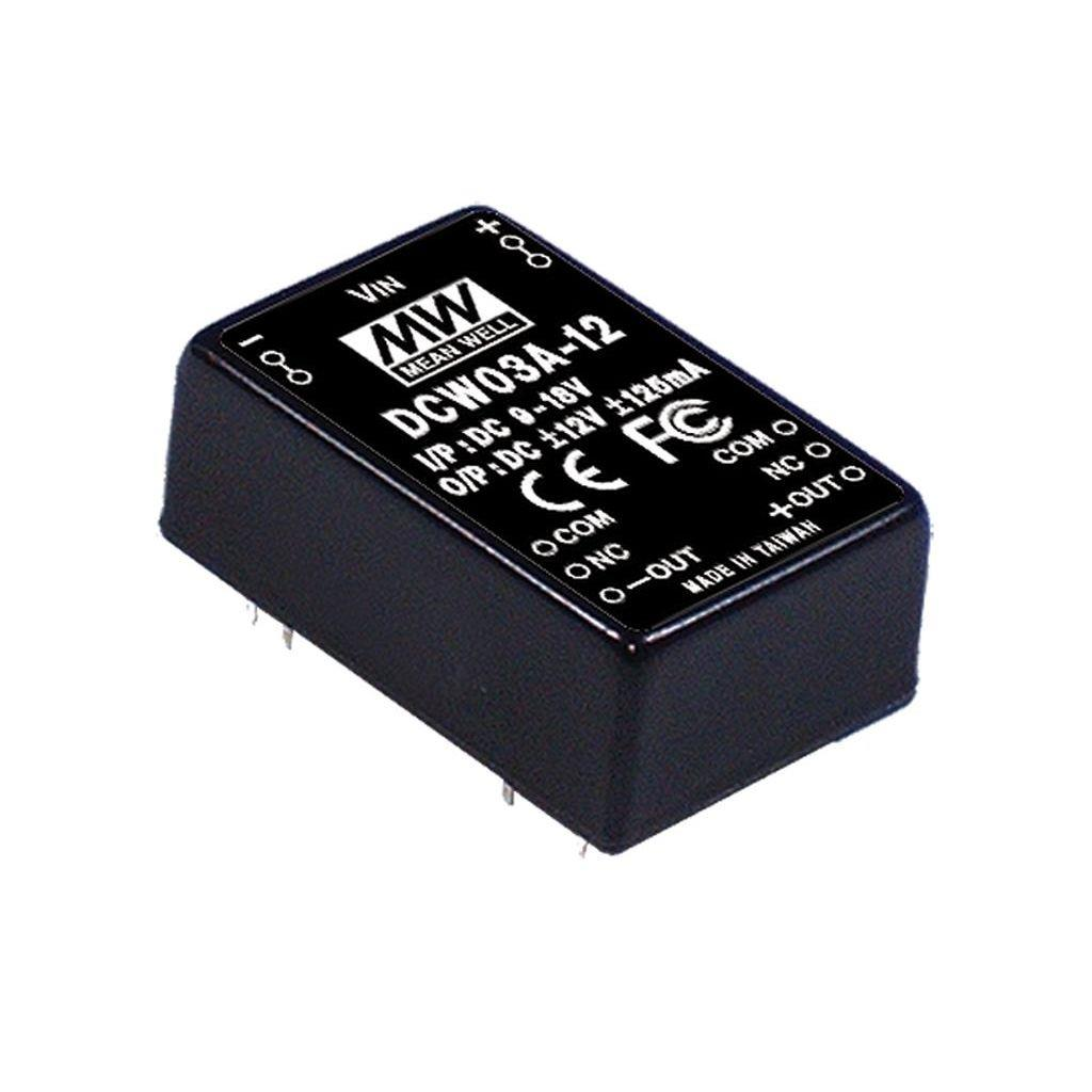 Mean Well DCW03C-15 DC/DC PCB Mount - Through Hole -15V 0.2A Converter