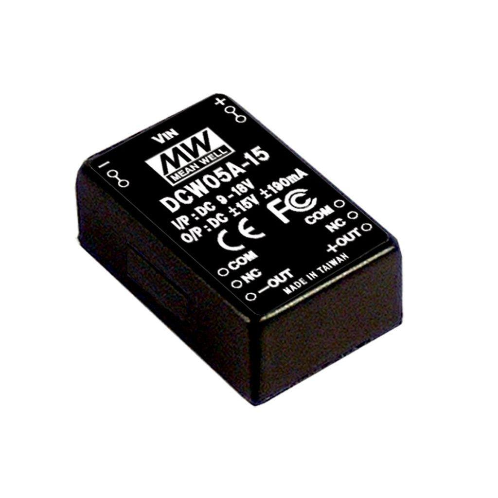 Mean Well DCW05C-15 DC/DC PCB Mount - Through Hole -15V 0.4A Converter