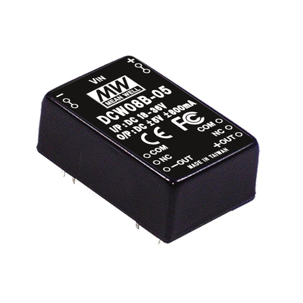 Mean Well DCW08B-05 DC/DC PCB Mount - Through Hole -5V 1.6A Converter
