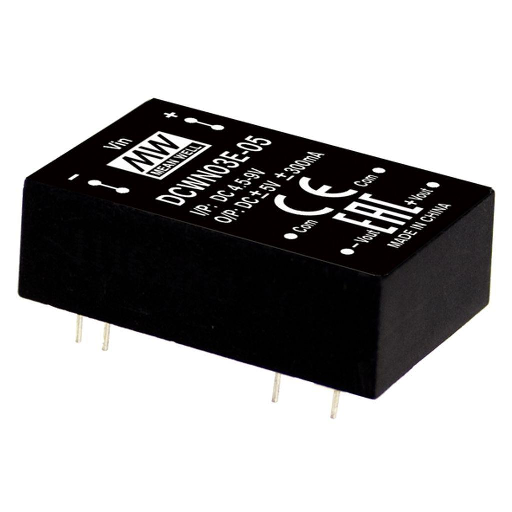 Mean Well DCWN03A-05 DC/DC PCB Mount - Through Hole +-5V +-0.3A Converter