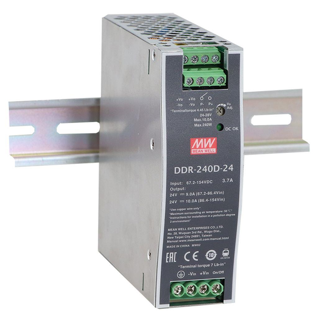 Mean Well DDR-240D-24 DC/DC DIN rail 24V 10A Converter