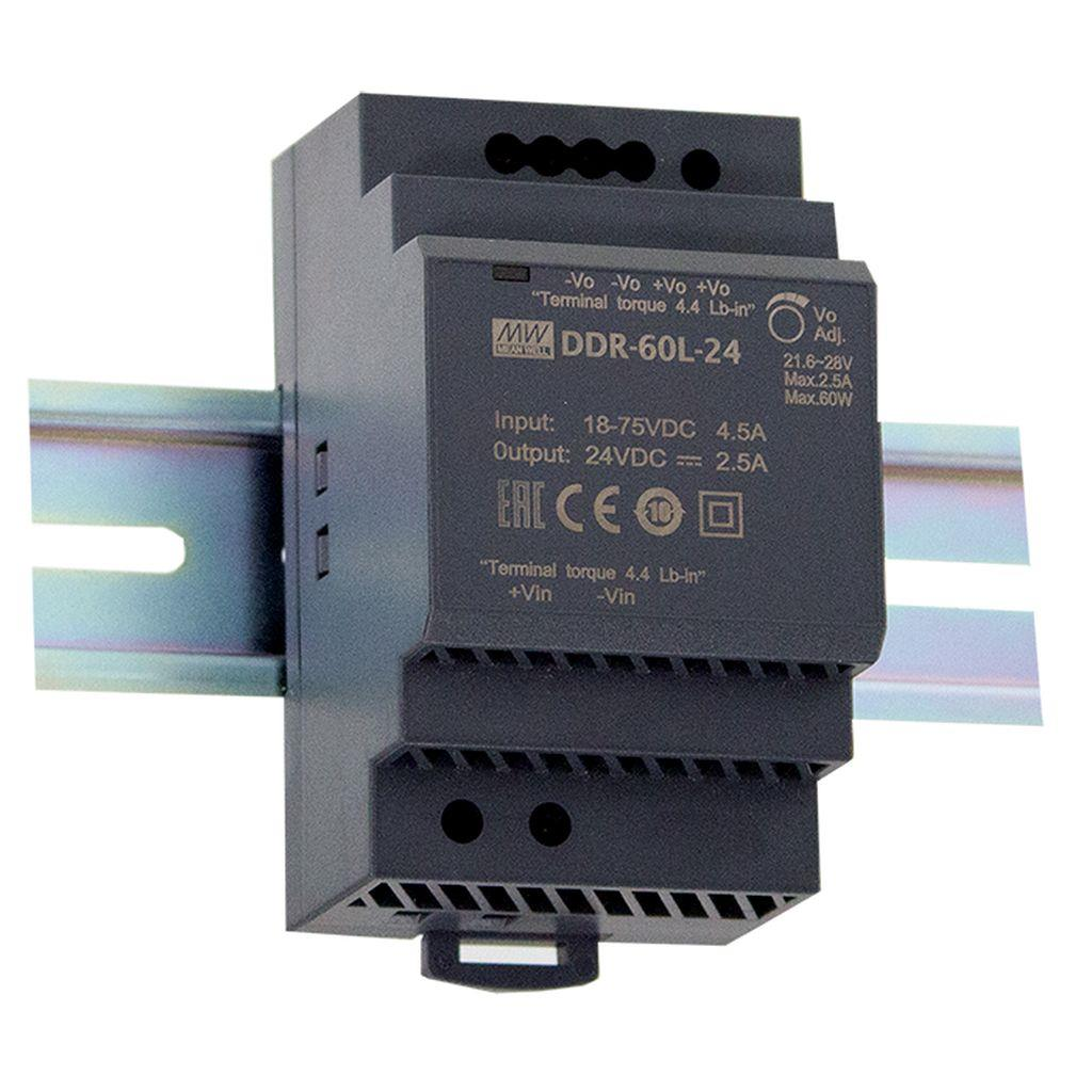 Mean Well DDR-60G-12 DC/DC DIN rail 12V 0.63A Converter