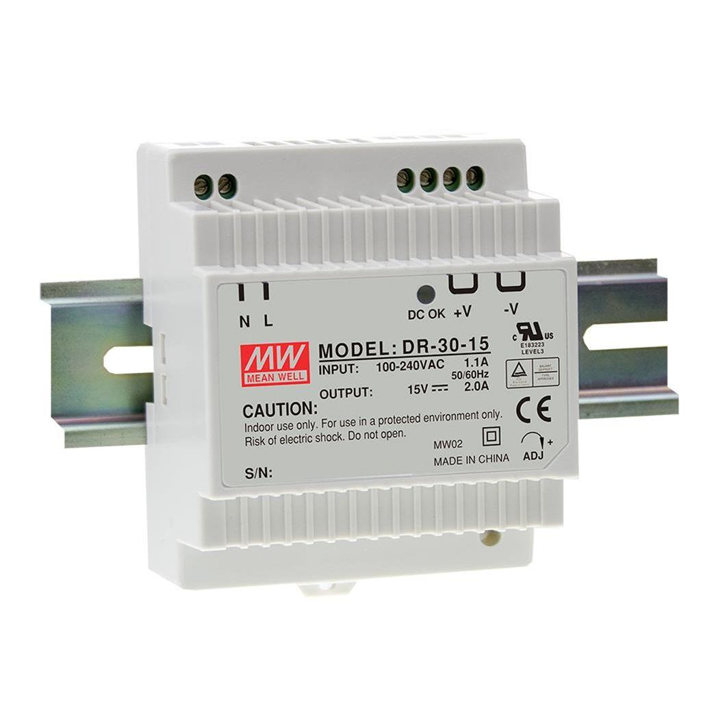 Mean Well DR-30-12 AC/DC DIN Rail 12V 2A Power Supply