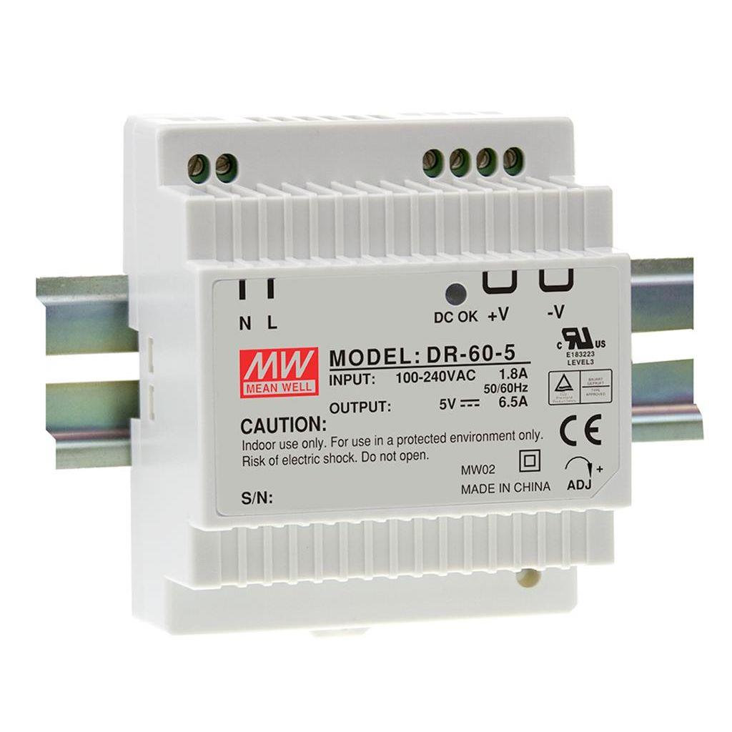 Mean Well DR-60-15 AC/DC DIN Rail 15V 4A Power Supply