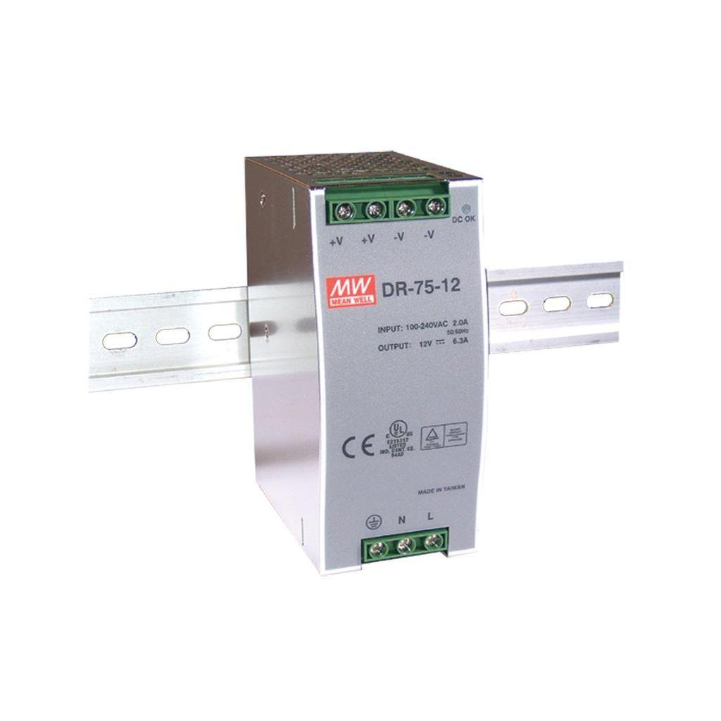 Mean Well DR-75-24 AC/DC DIN Rail 24V 3.2A Power Supply