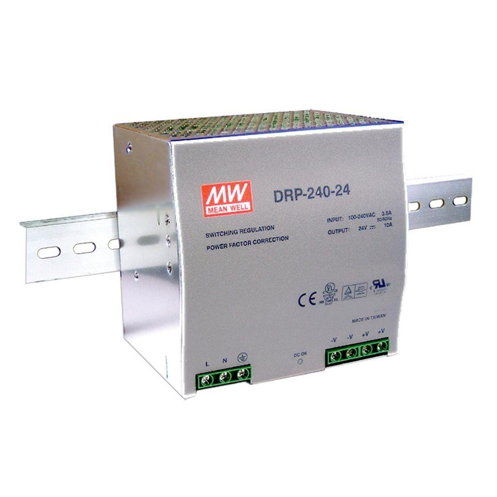 Mean Well DRP-240-24 AC/DC DIN Rail 24V 10A Power Supply