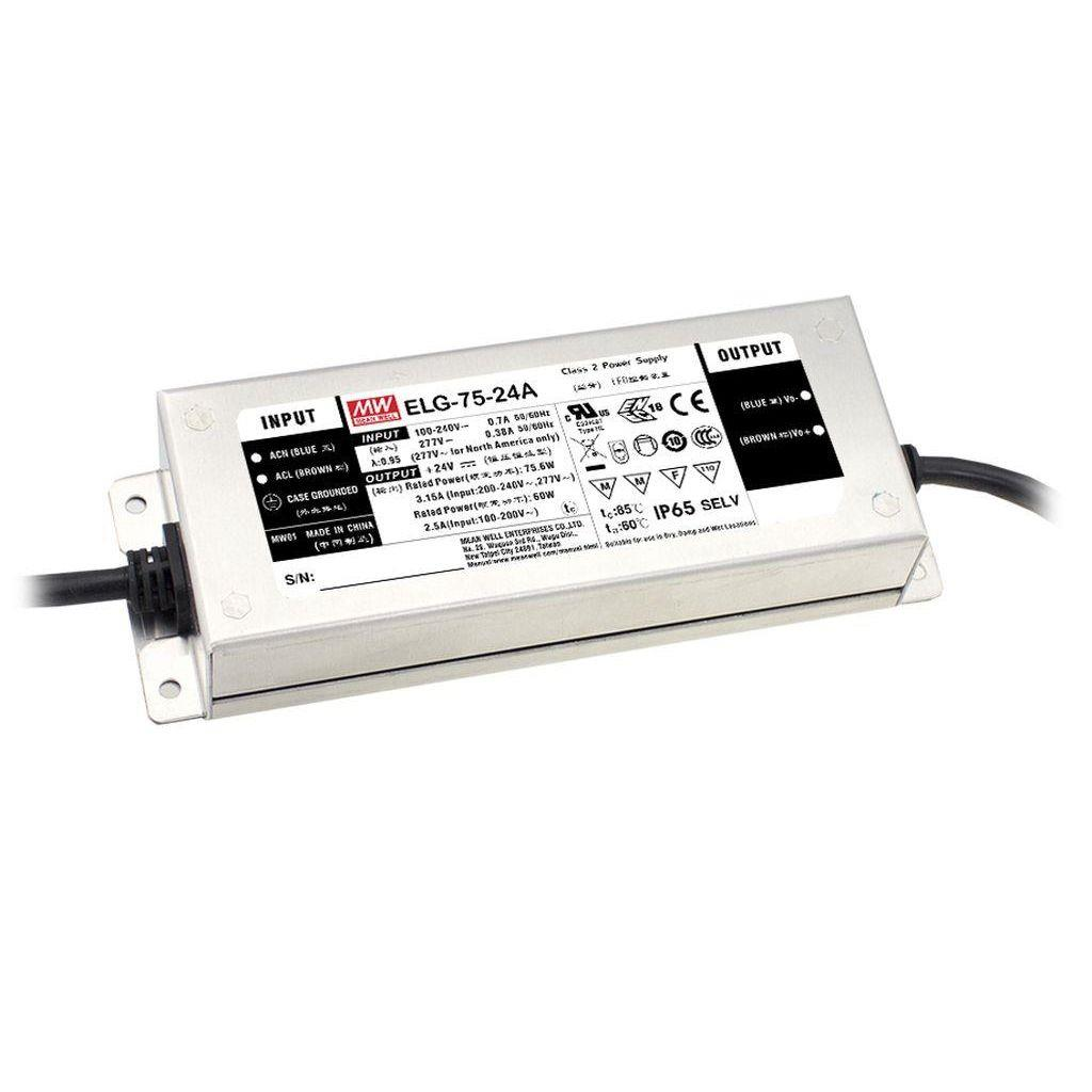 Mean Well ELG-75-24D2 AC/DC C.C. Box Type - Enclosed 24V 3.15A LED Driver