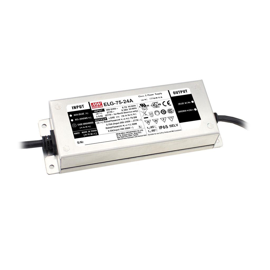 Mean Well ELG-75-48D2-3Y AC/DC C.C. Box Type - Enclosed 48V 1.6A LED Driver