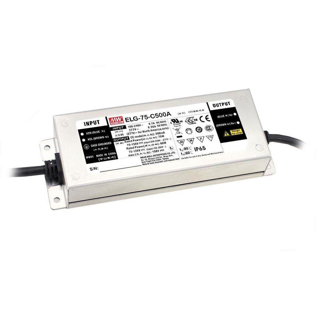 Mean Well ELG-75-C1400 AC/DC C.V. C.C. Box Type - Enclosed 54V 1.4A Single output LED Driver
