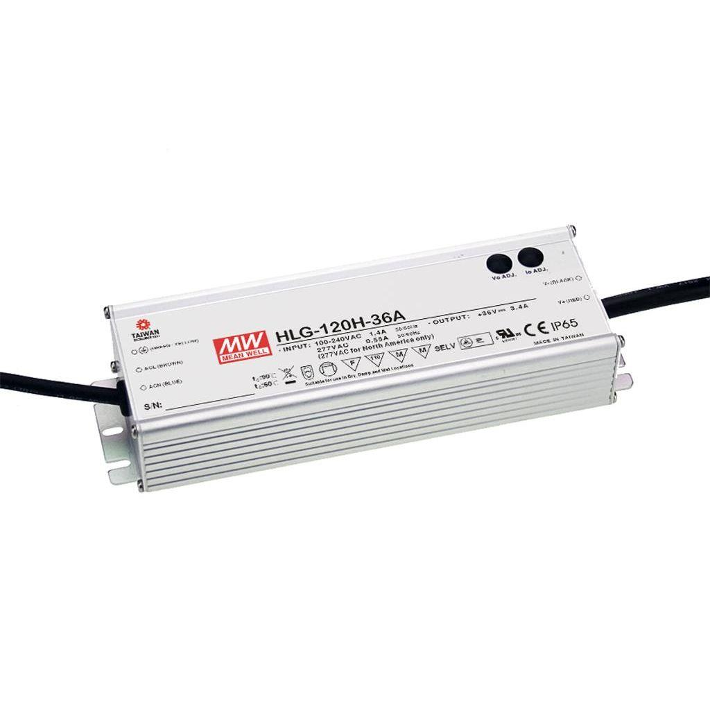 Mean Well HLG-120H-36 AC/DC C.V. C.C. Box Type - Enclosed 36V 3.4A Single output LED driver