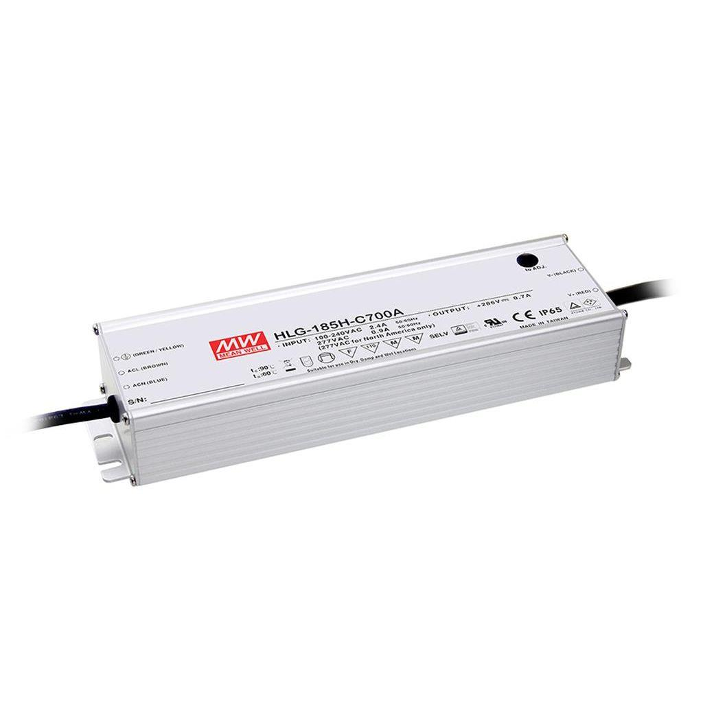 Mean Well HLG-185H-C700A AC/DC C.C.  Box Type - Enclosed 286V 0.7A Single output LED driver