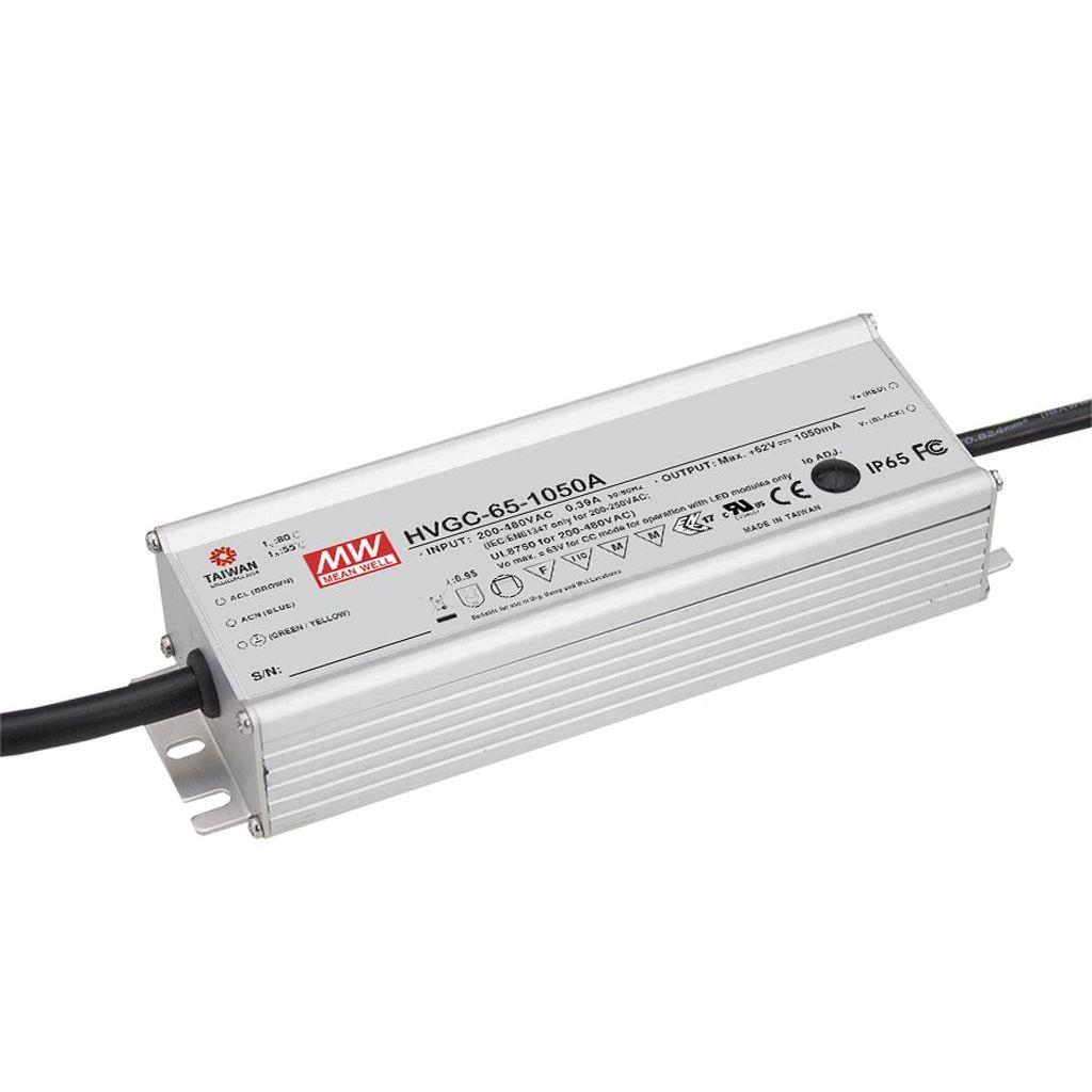 Mean Well HVGC-65-1050B AC/DC C.C.  Box Type - Enclosed 62V 1.05A Single output LED driver
