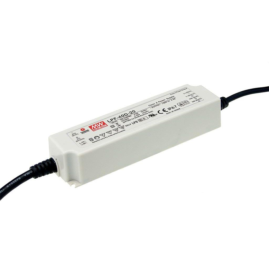 Mean Well LPF-40D-20 AC/DC C.C. Box Type - Enclosed 20V 2A Single output LED driver