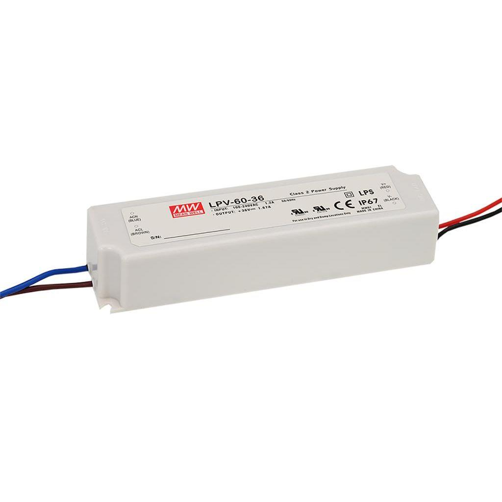 Mean Well LPV-60-5 AC/DC C.V. Box Type - Enclosed 5V 8A Single output LED driver