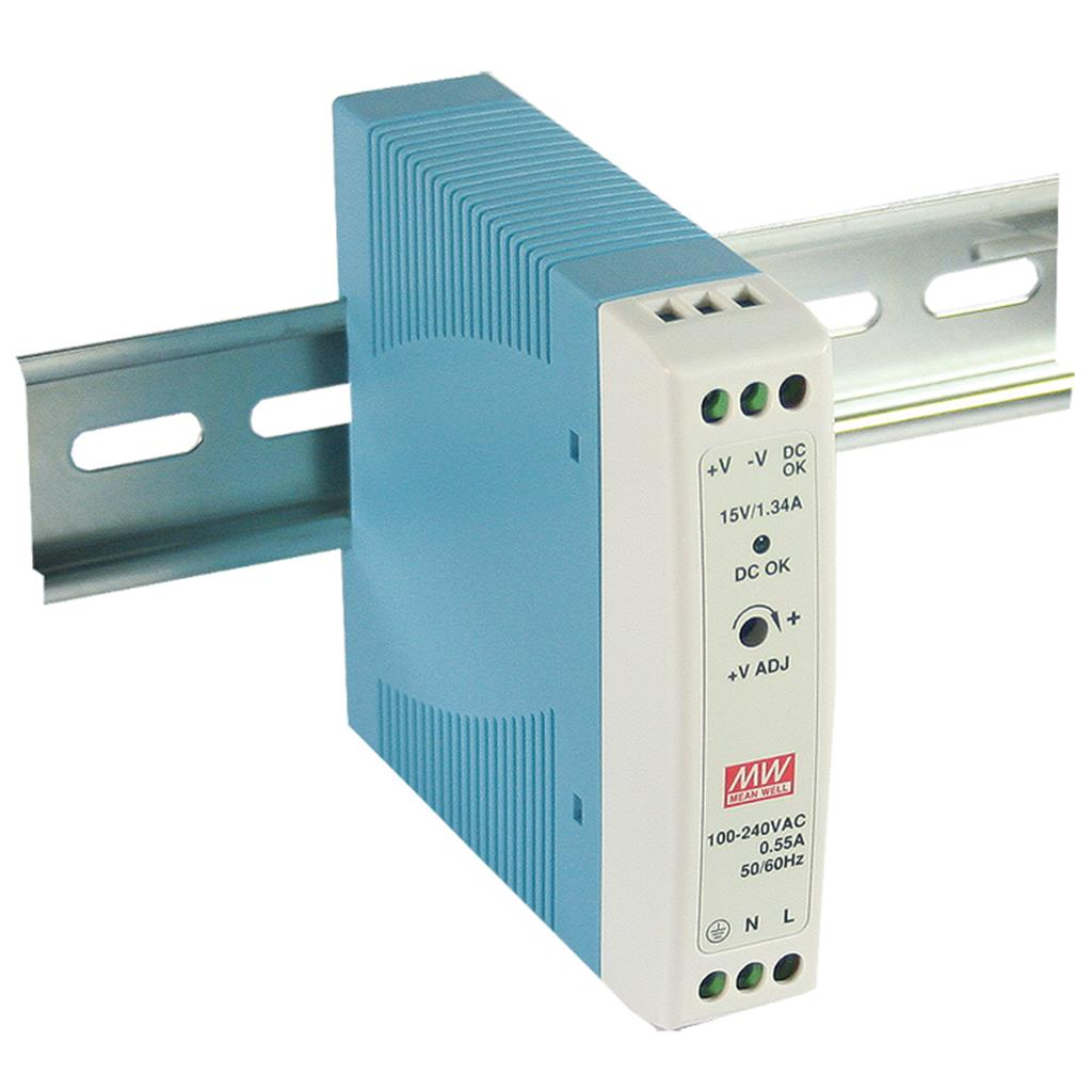 Mean Well MDR-20-5 AC/DC DIN Rail 5V 3A Power Supply