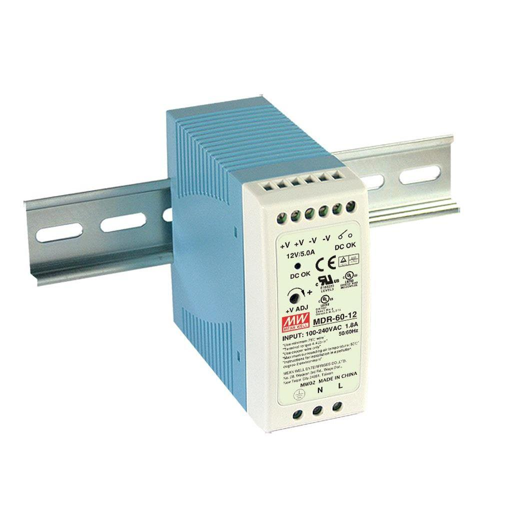 Mean Well MDR-60-12 AC/DC DIN Rail 12V 5A Power Supply