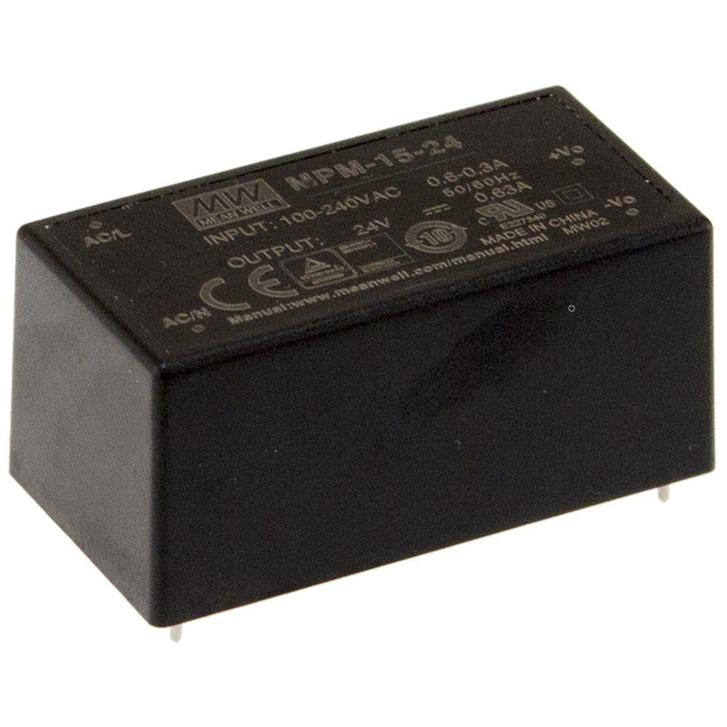 Mean Well MPM-15-3.3 AC/DC PCB Mount - Through Hole 3.3V 3.5A Power Supply