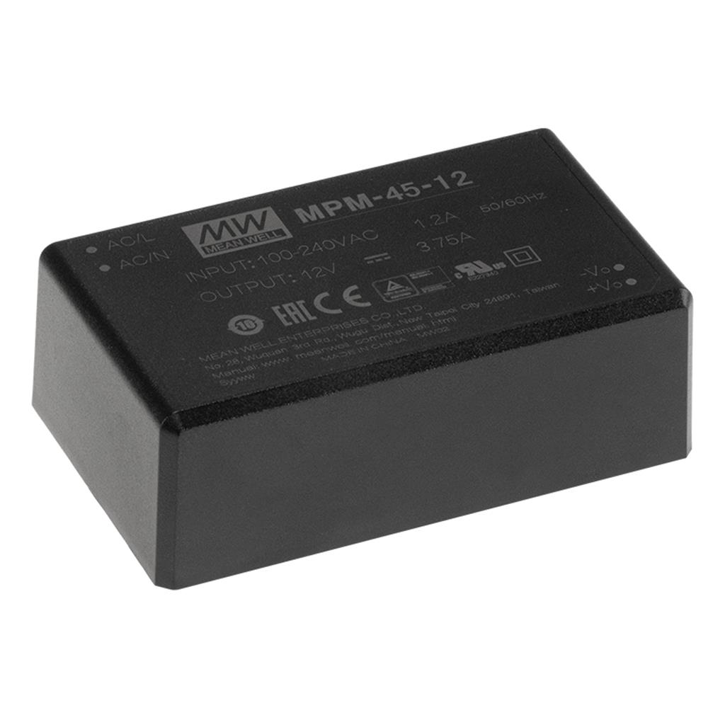 Mean Well MPM-45-15 AC/DC Encapsulated 15V 0.3A Single output Power Supply