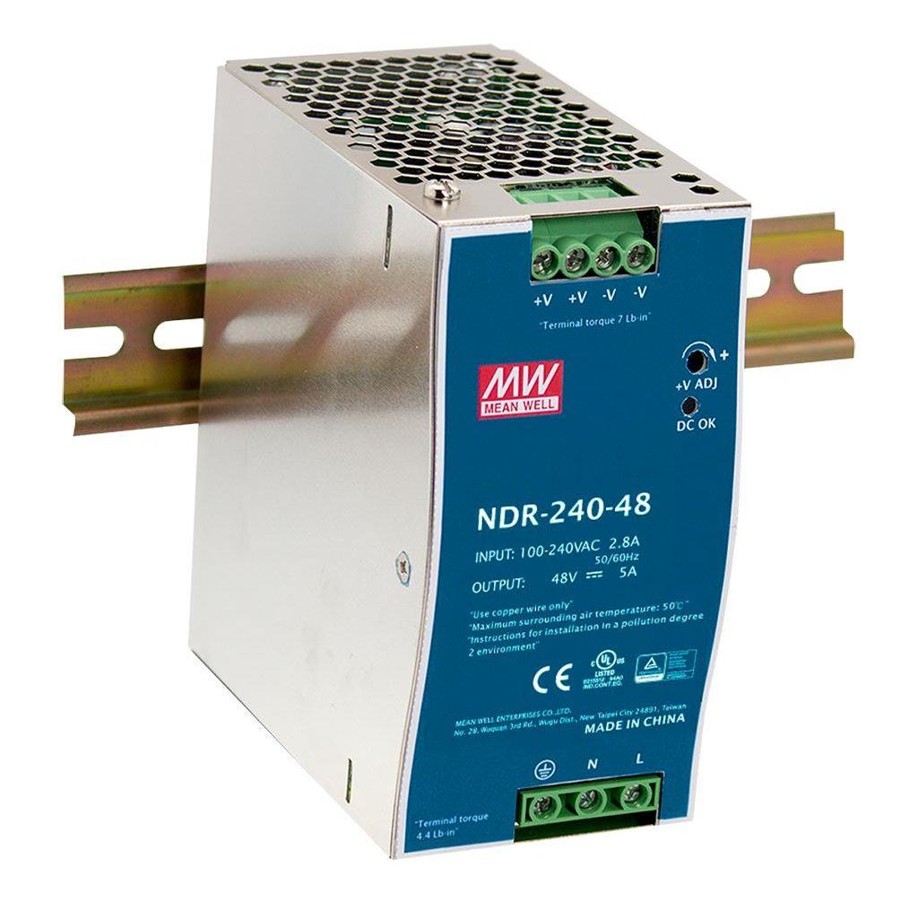 Mean Well NDR-240-48 AC/DC DIN Rail 48V 5A Power Supply
