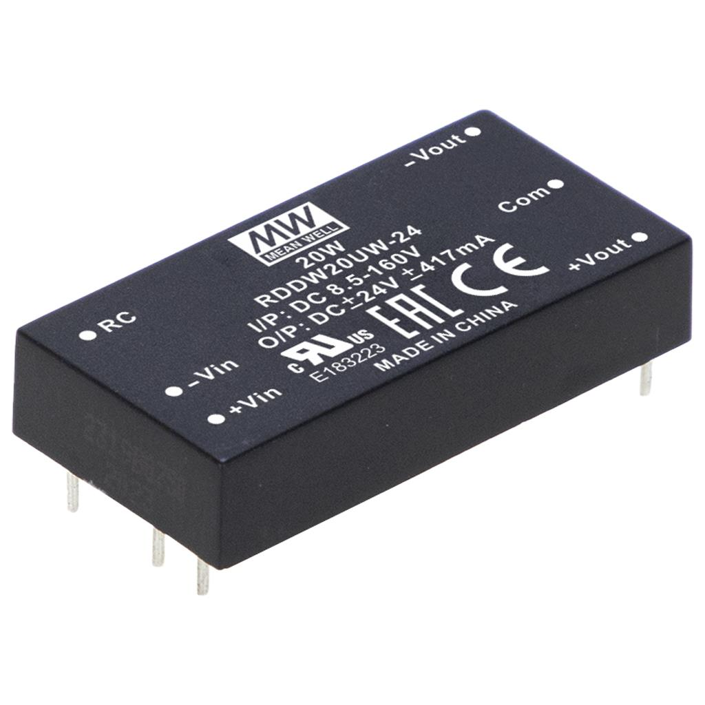 MeanWell RDDW20UW-24 DC/DC PCB Mount - Through Hole +-24V +-0.417A Converter