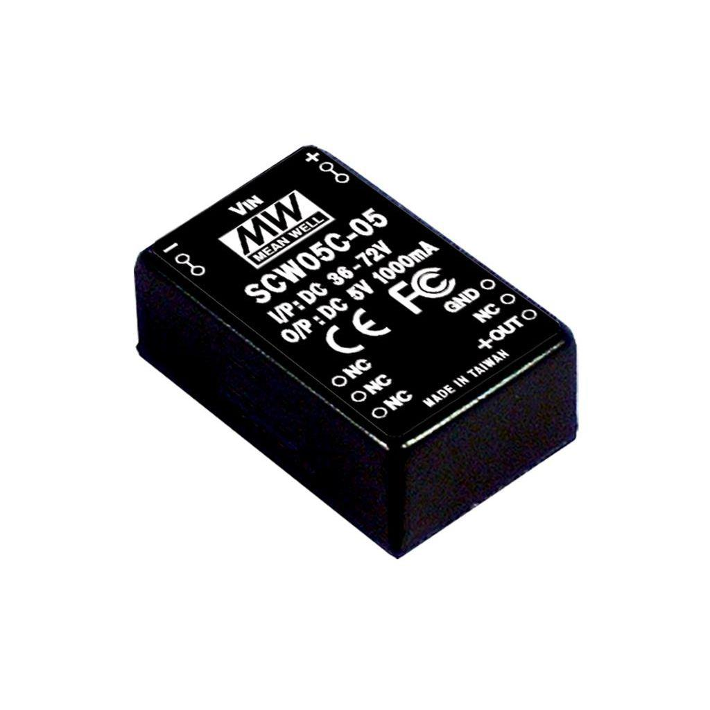 Mean Well SCW05A-15 DC/DC PCB Mount - Through Hole 15V 0.4A Converter