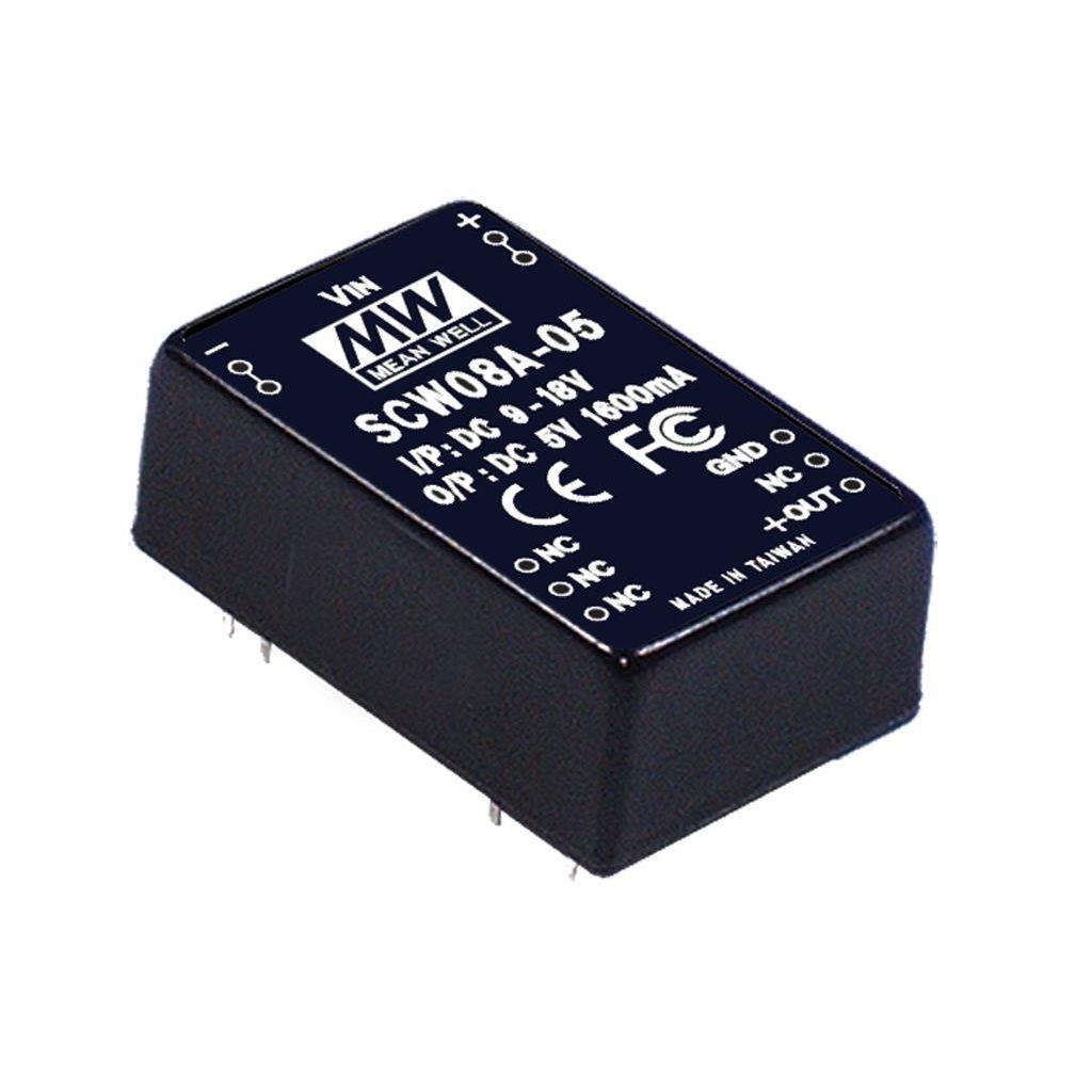 Mean Well SCW08A-15 DC/DC PCB Mount - Through Hole 15V 0.533A Converter