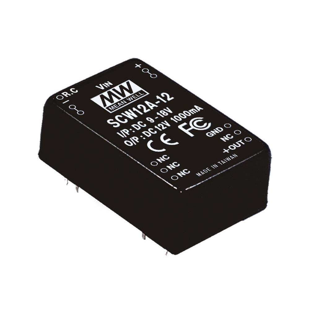 Mean Well SCW12B-15 DC/DC PCB Mount - Through Hole 15V 0.8A Converter