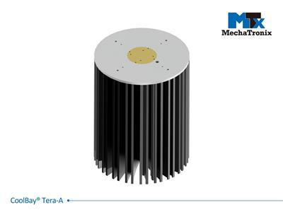 Mechatronix COOLBAY® TERA-A Advanced High Bay LED Cooler with CoolTube® patented heat transfer design; Cooling performance up to 44,000 lm. ø192mmxH250mm; Rth 0.22°C/W; Mounting holes for Zhaga Book 3