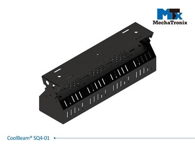 Mechatronix COOLBEAM® SQ4-01 Patented fixture kit accommodating 4 CoolBlock® SQ-01 2x2MX LED engines for industrial flood lights or high bay designs up to 25,000 lumen; W107mmxL418mmxH150.5mm; Black e