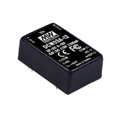 Mean Well DCW03A-12 DC/DC PCB Mount - Through Hole -12V 0.25A Converter