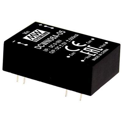 Mean Well DCWN06C-05 DC/DC PCB Mount - Through Hole +-5V +-0.5A Converter