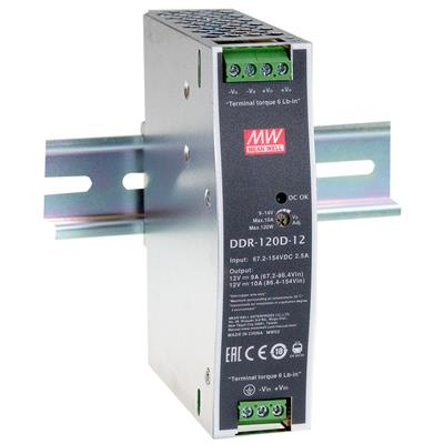 Mean Well DDR-120D-12 DC/DC DIN rail 12V 10A Converter
