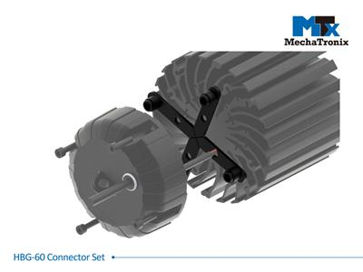Mechatronix HBG-60 CONNECTOR SET Connector set for Mean Well HBG-60 LED drivers with all ModuLED-HBG and CoolBay® series LED coolers. Creates a 11mm gap between the cooler and driver