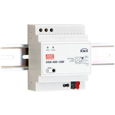 Mean Well KNX-40E-1280D AC-DC KNX EIB DIN rail power supply with integrated choke; Output 30Vdc at 1.28A; with diagnostic function