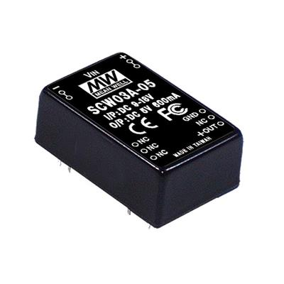Mean Well SCW03A-12 DC/DC PCB Mount - Through Hole 12V 0.25A Converter