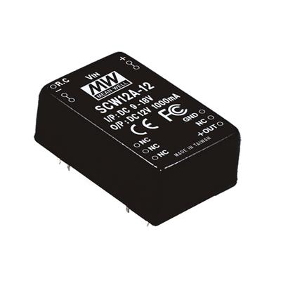 Mean Well SCW12A-15 DC/DC PCB Mount - Through Hole 15V 0.8A Converter