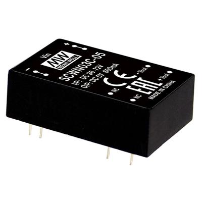 Mean Well SCWN03E-15 DC/DC PCB Mount - Through Hole 15V 0.2A Converter