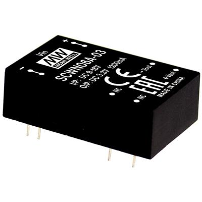Mean Well SCWN06B-15 DC/DC PCB Mount - Through Hole 15V 0.4A Converter